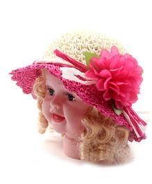 Princess Cart Straw Flower Girl Cap - Hot Pink