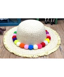 Princess Cart Big Brim Colour Ball Hat - Beige