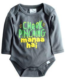 Zeezeezoo Cheek Pinching Manaa Hai Printed Bodysuit - Grey
