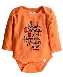 Zeezeezoo Dadi Amma Dadi Amma Printed Bodysuit - Orange