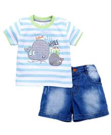 ToffyHouse Half Sleeves Whale Patched T-Shirt And Shorts Set - Blue