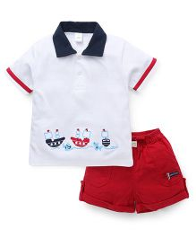 ToffyHouse Half Sleeves Polo Neck T-Shirt And Corduroy Shorts Set - Off  White Red
