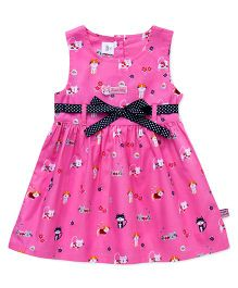 ToffyHouse Sleeveless Frock All Over Kitty print With Belt - Pink