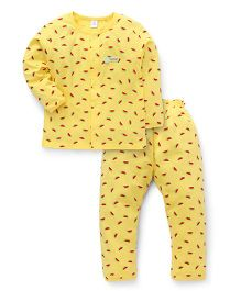 ToffyHouse Full Sleeves Night Suit With Watermelon Print - Yellow