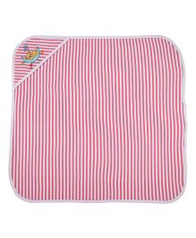 MomToBe Stripes Hooded Towel Bear Embroidery - Pink White
