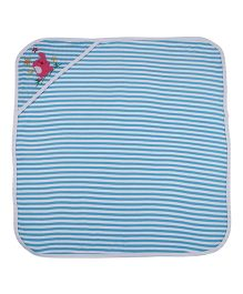 MomToBe Stripes Hooded Towel Elephant Embroidery - Blue White
