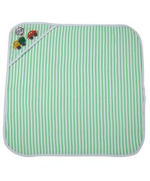 MomToBe Stripes Hooded Towel Vehicle Embroidery - Green White