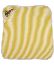 MomToBe Stripes Hooded Towel Train Embroidery - Yellow White