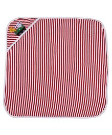 MomToBe Stripes Hooded Towel Animal Embroidery - Red White