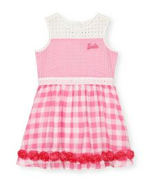 Barbie Sleeveless Gingham Checks & Lace Dress - Pink