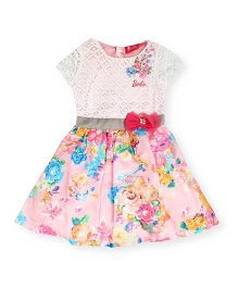 Barbie Sleeveless Lace And Floral Print Dress - Pink