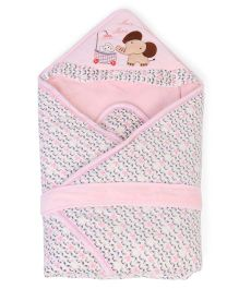 Mee Mee Hooded Blanket Elephant Embroidery - Pink