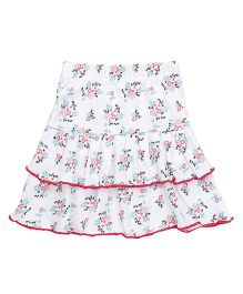 Babyhug Layered Skirt Floral Print - White