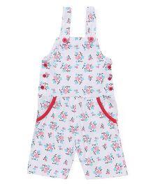 Babyhug Sleeveless Dungaree Floral Print - White Pink