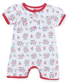 Babyhug Short Sleeves Romper Floral Print - White Pink