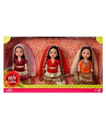 Kelly In India Doll Pack Of 3 Multi Color - 11cm