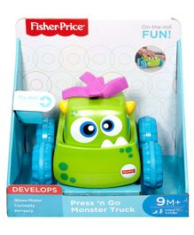Fisher Price Press N Go Monster Truck - Green And Blue