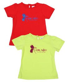 Soul Fairy Printed Half Sleeves T-Shirt Pack Of 2 - Yellow & Green
