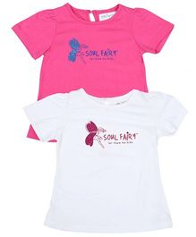 Soul Fairy Printed Half Sleeves T-Shirt Pack Of 2 - White & Pink