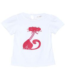 Soul Fairy Cat Printed Short Sleeves T-Shirt - White