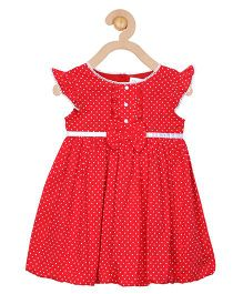 Soul Fairy Polka Dot Printed Dress With Flowers Attached - Red