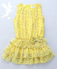 Soul Fairy Star Printed Blouson Dress - Yellow