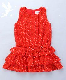 Soul Fairy Polka Dot Printed Blouson Dress - Coral