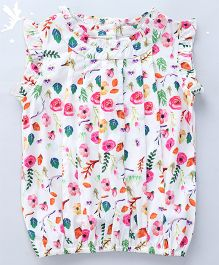 Soul Fairy Floral Printed Top With Pintucks And Ruffles - Multicolour
