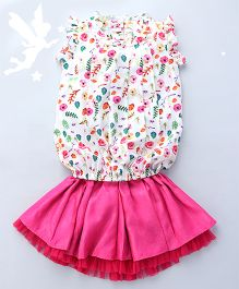 Soul Fairy Floral Printed Top With Pintucks & Ruffle With Skirt - Multicolour & Fuchsia
