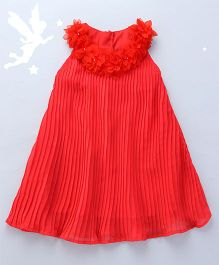 Soul Fairy Pleated Dress With Flowers On The Neckline - Coral