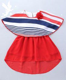 Soul Fairy Cape Dress With High Low Hem & Pom Pom Lace - Coral