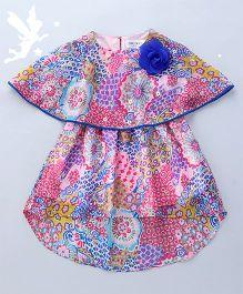 Soul Fairy Floral Cape Dress With High Low Hem & Pom Pom Lace - Multicolour