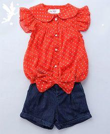Soul Fairy Polka Dot Printed Top With Bow At Waist & Denim Shorts - Coral
