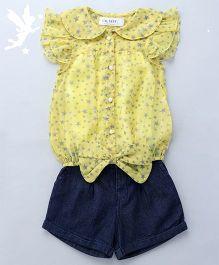Soul Fairy Star Printed Top & Denim Shorts - Yellow