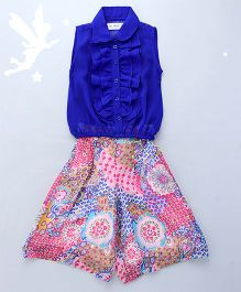 Soul Fairy Ruffled Front Placket With Peter Pan Collar Top With Calf Length Palazzos - Royal Blue
