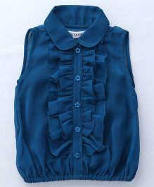 Soul Fairy Ruffled Front Placket With Peter Pan Collar Top - Blue