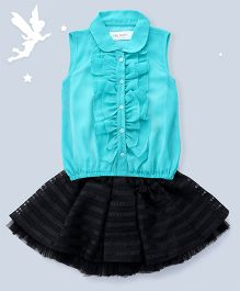 Soul Fairy Ruffled Front Placket With Peter Pan Collar Top with Flared Skirt - Aqua