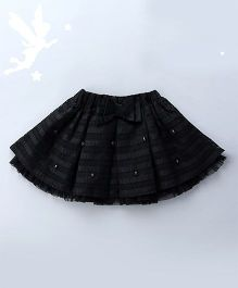 Soul Fairy Flared Skirt With Pearl & Bow - Black