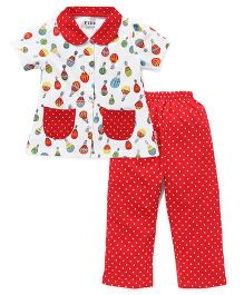 Fido Half Sleeves Night Suit Printed - Red White