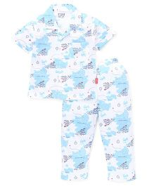 Fido Half Sleeves Night Suit Printed - White Blue