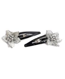 Carolz Jewelry Pair Of Flowers Clip - Silver