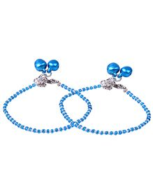Carolz Jewelry Pair Of Anklets - Blue