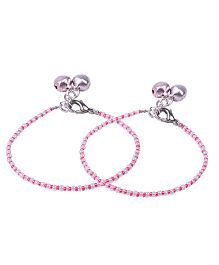 Carolz Jewelry Pair Of Anklets - Silver