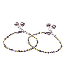 Carolz Jewelry Pair Of Anklets - Grey