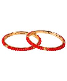 Carolz Jewelry Pair Of Bangles - Red