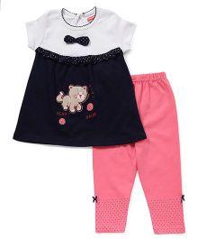 Babyhug Short Sleeves Top & Leggings Set Kitty Print - Navy Coral