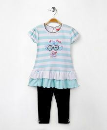 Babyhug Short Sleeve Frock With Leggings - Aqua White Navy