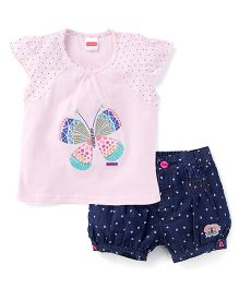 Babyhug Short Sleeves Top And Denim Shorts Butterfly Embroidery - Pink & Blue