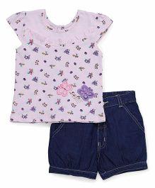 Babyhug Short Sleeves Printed Top With Shorts - Pink Blue