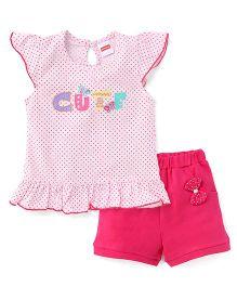 Babyhug Short Sleeves Top And Solid Shorts Set - Pink